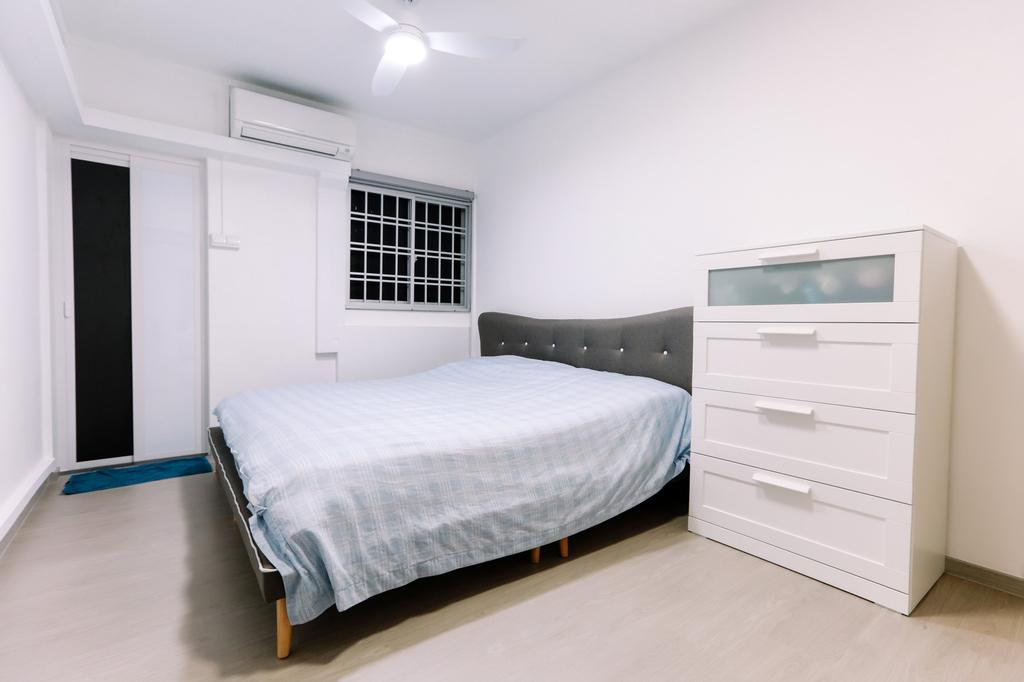 Modern, HDB, Gloucester Road, Interior Designer, 9's Interior, Minimalistic, Bedroom, Indoors, Interior Design, Room, Bed, Furniture, Drawer