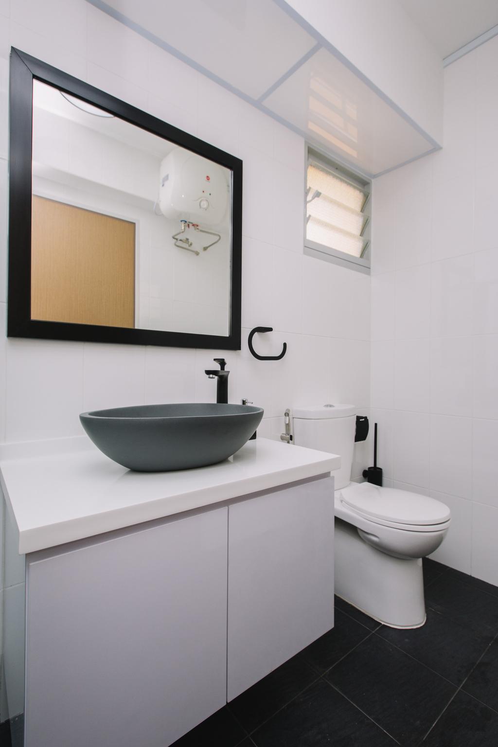 Contemporary, HDB, Bathroom, Sumang Lane, Interior Designer, 9's Interior, Toilet, Molding, Wall