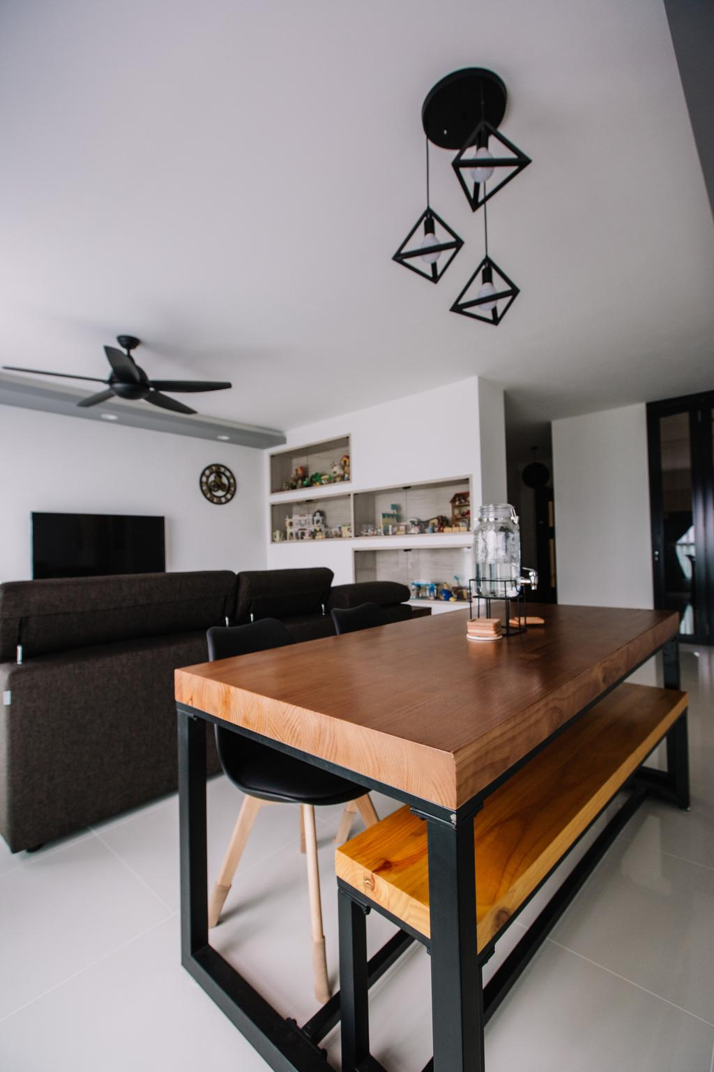 Contemporary, HDB, Dining Room, Sumang Lane, Interior Designer, 9's Interior, Couch, Furniture, Building, Housing, Indoors, Loft, Animal, Bird, Swallow, Interior Design, Room, Dining Table, Table