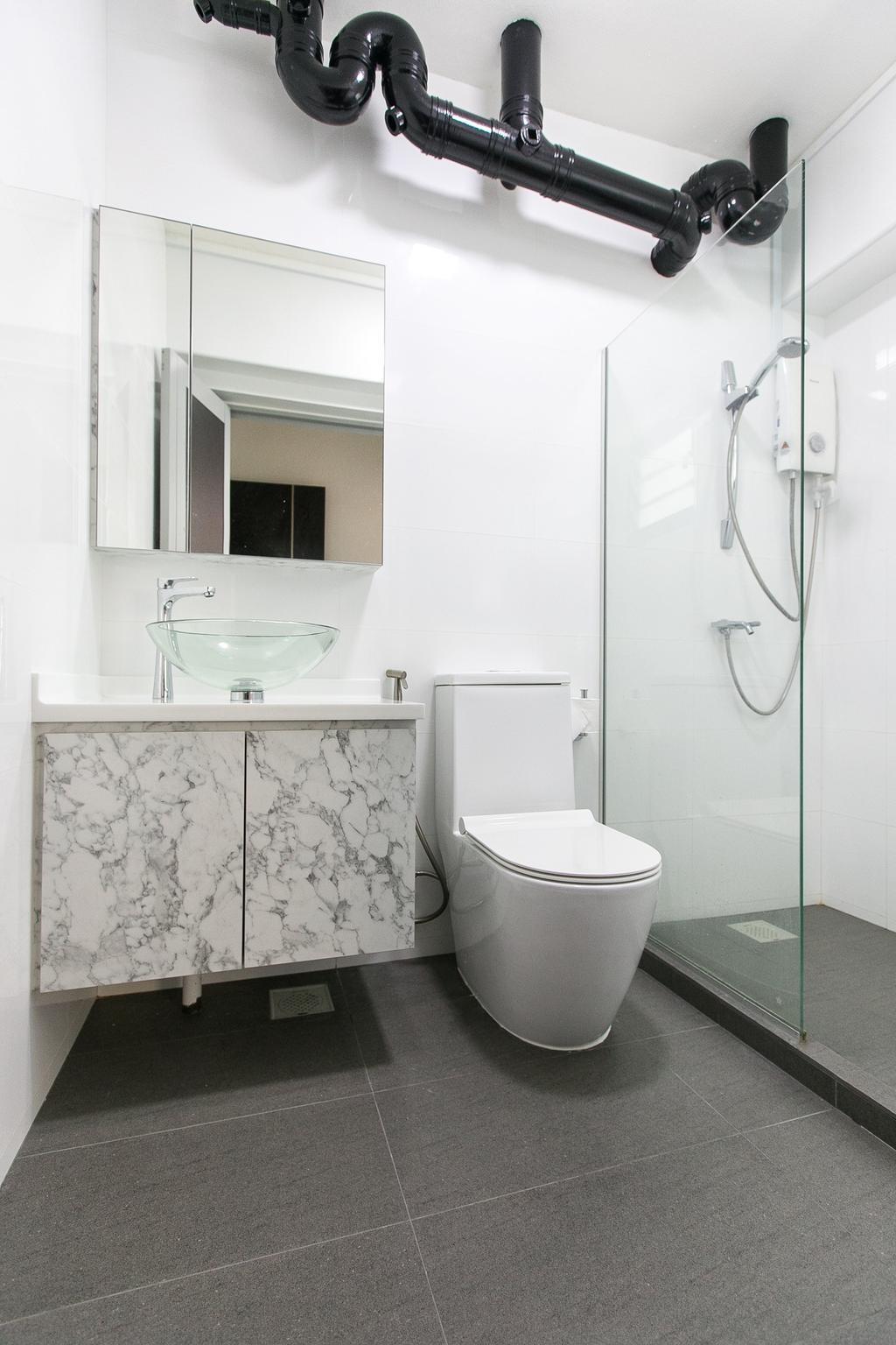 Modern, HDB, Bathroom, Boon Tiong Road, Interior Designer, 9's Interior, Toilet, Indoors, Interior Design, Room