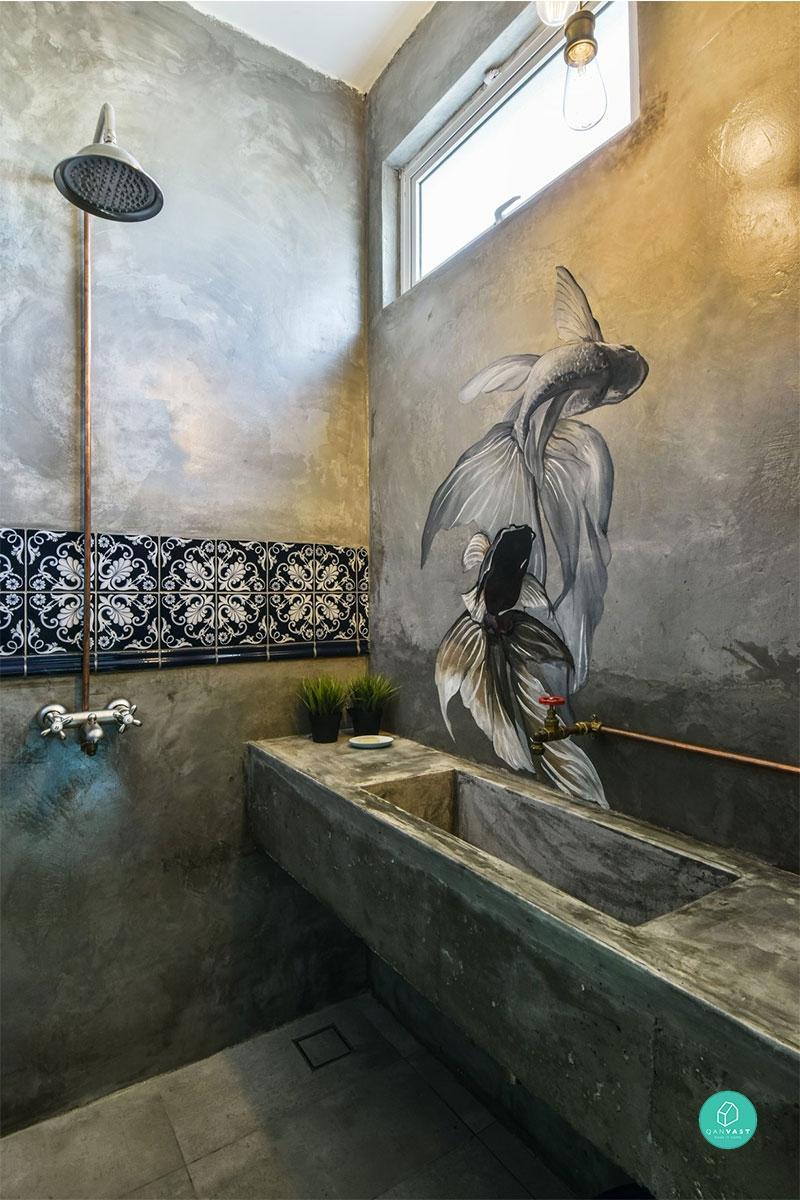Wabi Sabi Bathrooms, Cement Screed Wall