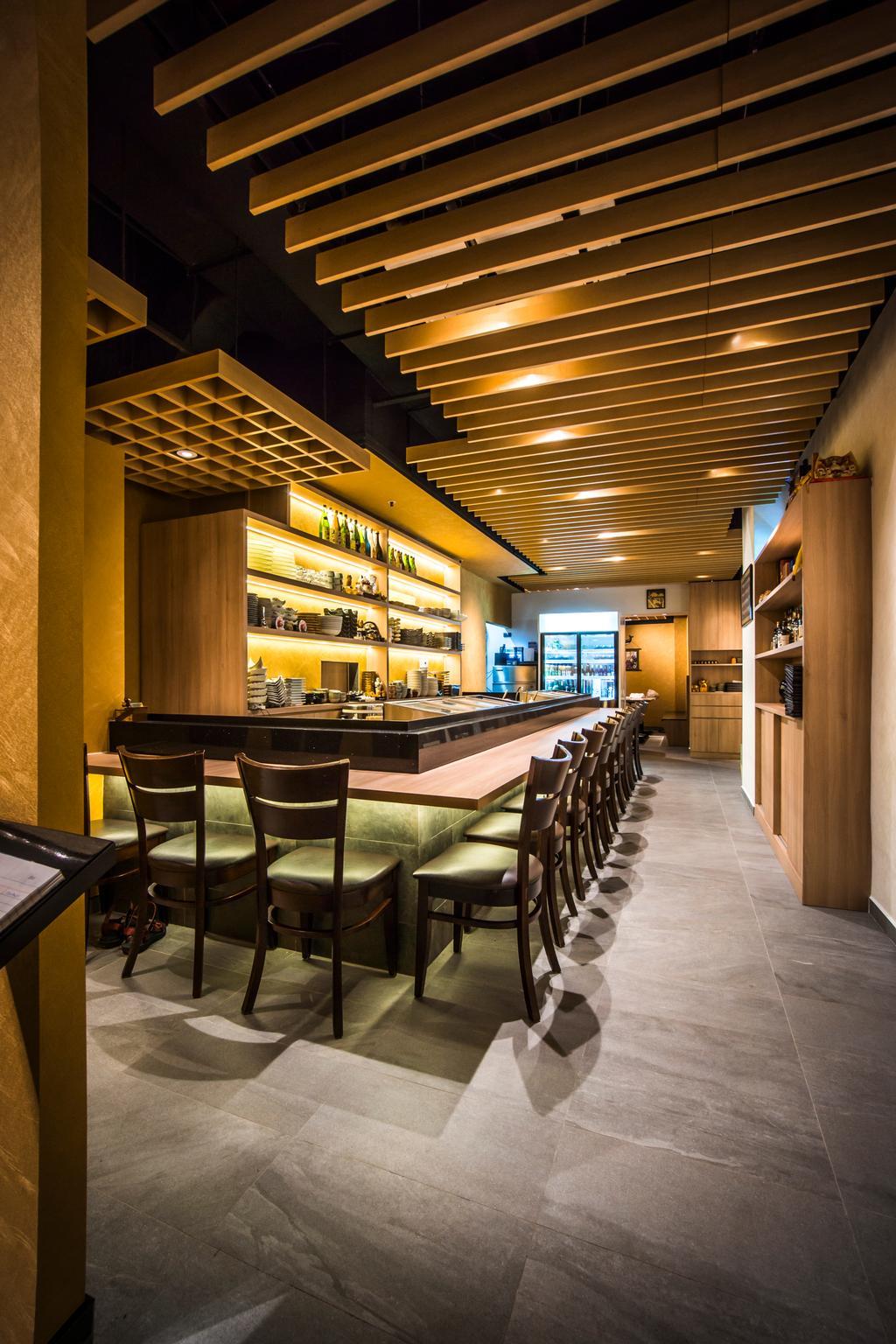Hakumai, Commercial, Interior Designer, Flo Design, Contemporary, Chair, Furniture, Restaurant, Food, Food Court, Bar Counter, Pub, Cafe