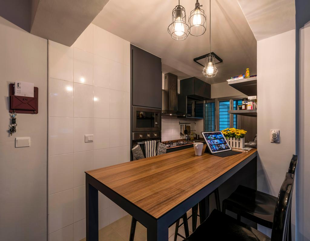 Industrial, HDB, Dining Room, Choa Chu Kang Avenue 5, Interior Designer, PHD Posh Home Design, Eclectic, Indoors, Interior Design, Room, Dining Table, Furniture, Table, Appliance, Electrical Device, Oven