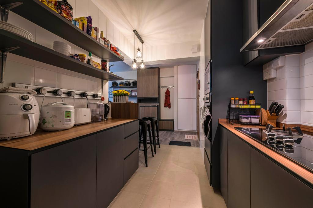 Industrial, HDB, Kitchen, Choa Chu Kang Avenue 5, Interior Designer, PHD Posh Home Design, Eclectic