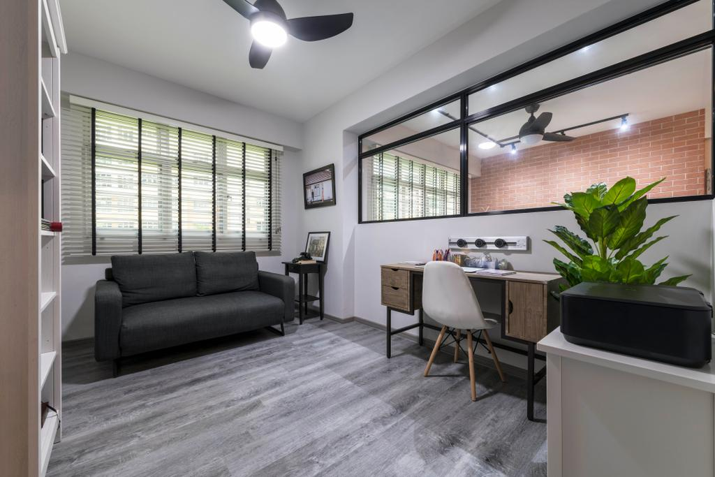 Industrial, HDB, Study, Choa Chu Kang Avenue 5, Interior Designer, PHD Posh Home Design, Eclectic, Flora, Jar, Plant, Potted Plant, Pottery, Vase, Indoors, Room, Dining Table, Furniture, Table