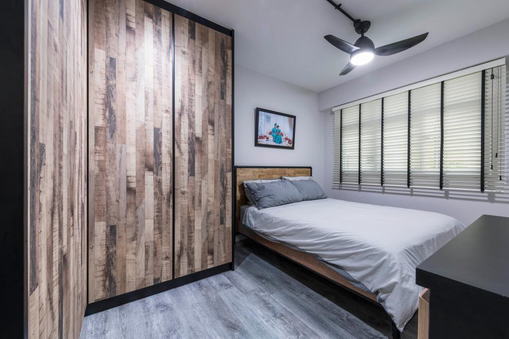 Industrial, HDB, Bedroom, Choa Chu Kang Avenue 5, Interior Designer, PHD Posh Home Design, Eclectic, Bed, Furniture, Light Fixture, Indoors, Interior Design, Room