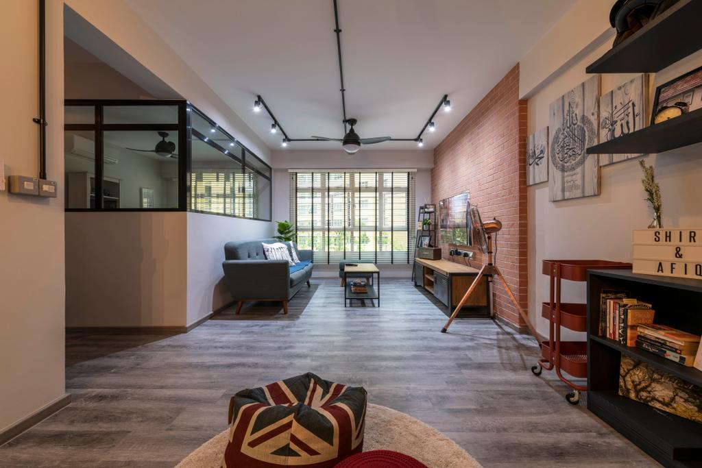 Industrial, HDB, Living Room, Choa Chu Kang Avenue 5, Interior Designer, PHD Posh Home Design, Eclectic