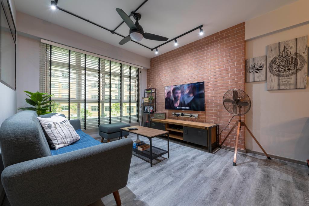 Industrial, HDB, Living Room, Choa Chu Kang Avenue 5, Interior Designer, PHD Posh Home Design, Eclectic, Chair, Furniture, Electronics, Monitor, Screen, Tv, Television