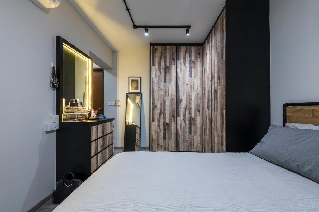 Industrial, HDB, Bedroom, Choa Chu Kang Avenue 5, Interior Designer, PHD Posh Home Design, Eclectic, Indoors, Interior Design, Room, Bed, Furniture