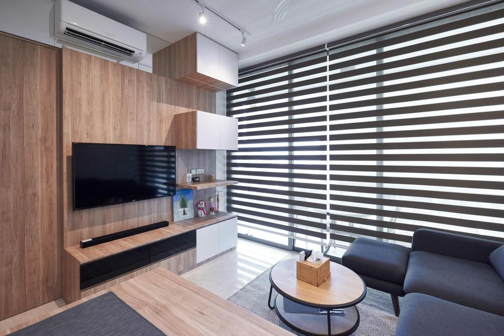 Contemporary, Condo, Living Room, Marine Blue, Interior Designer, Charlotte's Carpentry, Chair, Furniture, Indoors, Interior Design