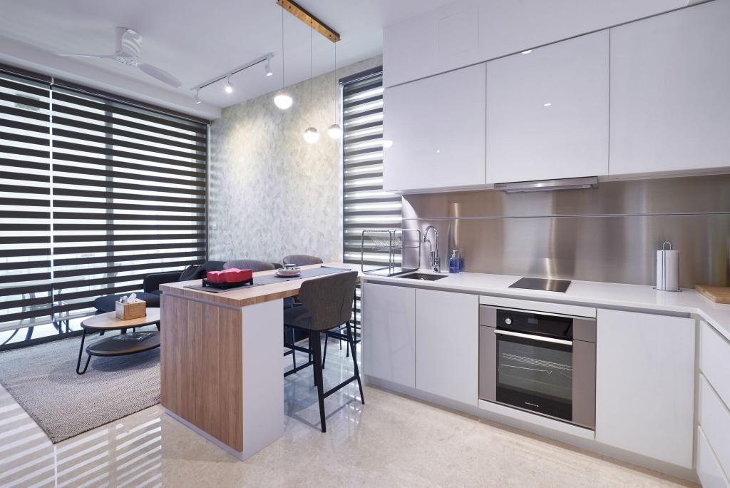 Contemporary, Condo, Kitchen, Marine Blue, Interior Designer, Charlotte's Carpentry, Dining Table, Furniture, Table, Appliance, Electrical Device, Oven, Indoors, Interior Design, Room