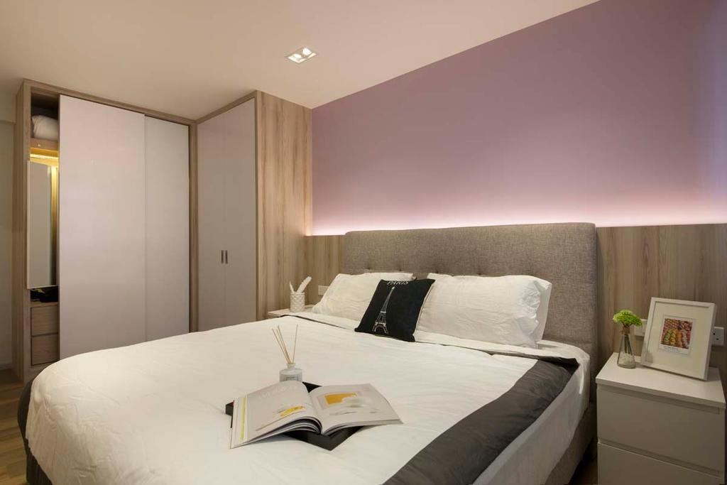 Scandinavian, HDB, Bedroom, Fajar Road (Block 443C), Interior Designer, KDOT, Cove Light, Bed, Side Table, Wardobe, Indoors, Room, Furniture