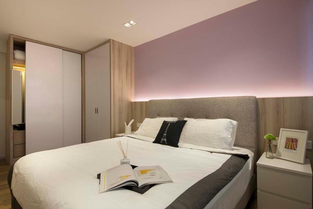 Fajar Road (Block 443C), KDOT, Scandinavian, Bedroom, HDB, Cove Light, Bed, Side Table, Wardobe, Indoors, Room, Furniture