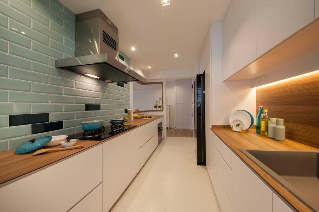 Scandinavian, HDB, Kitchen, Fajar Road (Block 443C), Interior Designer, KDOT, Cove Light, Wall Tiles, Hood, Stove, Cabinets, Drawers, Indoors, Interior Design