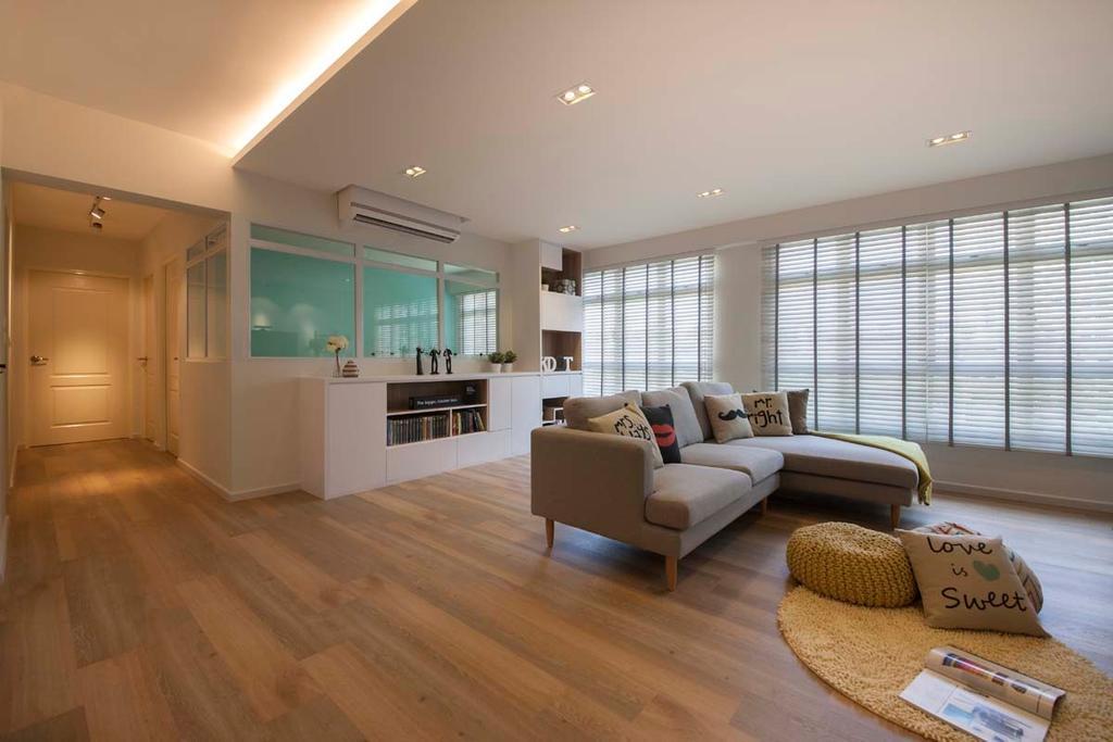 Scandinavian, HDB, Living Room, Fajar Road (Block 443C), Interior Designer, KDOT, Wood Floor, Blinds, Sofa, Down Light, Cove Light, Couch, Furniture, Flooring, Lighting, Molding
