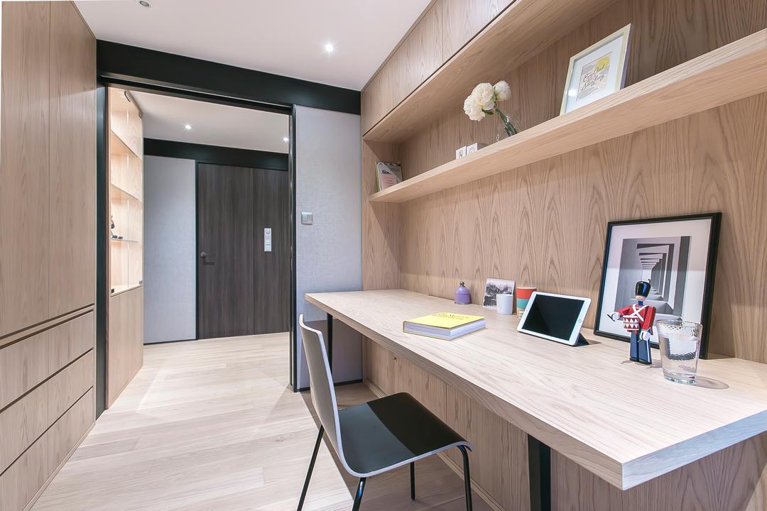 嘉峰臺, HIR 建築設計室, 書房, 私家樓, Chair, Furniture, Plywood, Wood, Desk, Table