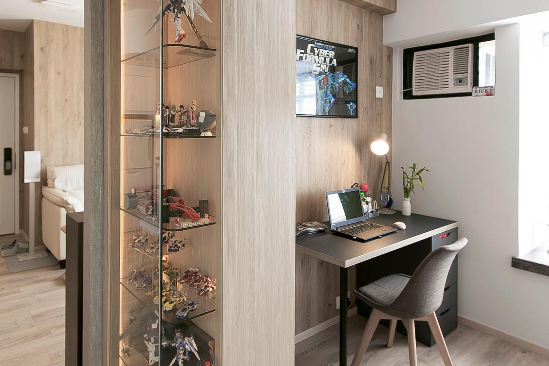 新港城, HIR 建築設計室, 簡約, 摩登, 北歐, 書房, 私家樓, Chair, Furniture, Air Conditioner