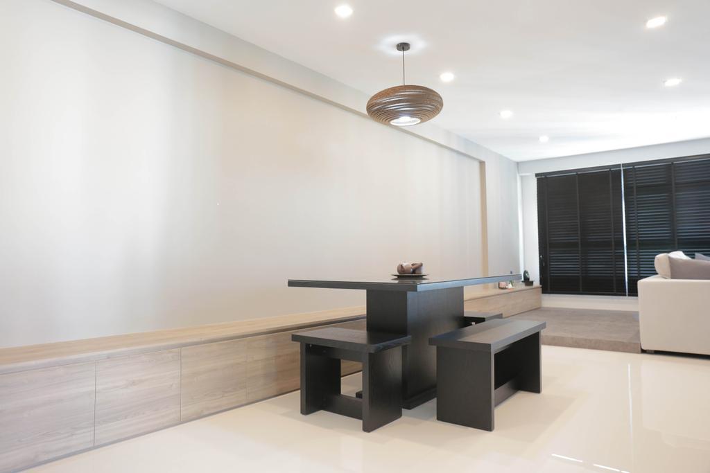 Minimalistic, HDB, Dining Room, Choa Chu Kang (Block 488C), Interior Designer, Forefront Interior, Couch, Furniture, Door, Sliding Door, Dining Table, Table, Indoors, Interior Design, Room