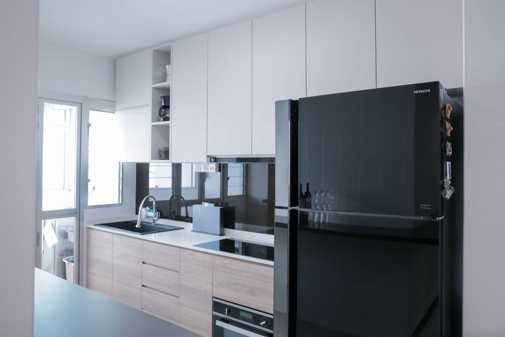 Minimalistic, HDB, Kitchen, Choa Chu Kang (Block 488C), Interior Designer, Forefront Interior, Dining Table, Furniture, Table, Door, Sliding Door