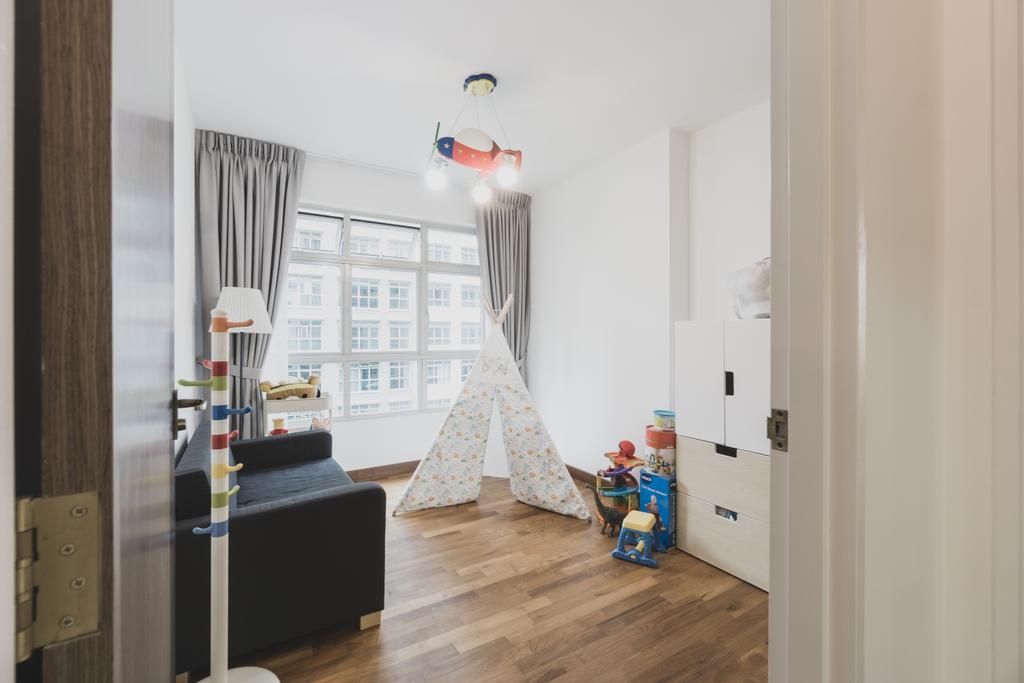 Minimalistic, HDB, Bedroom, Compassvale Drive, Interior Designer, Mr Designer Studio, Building, Housing, Indoors