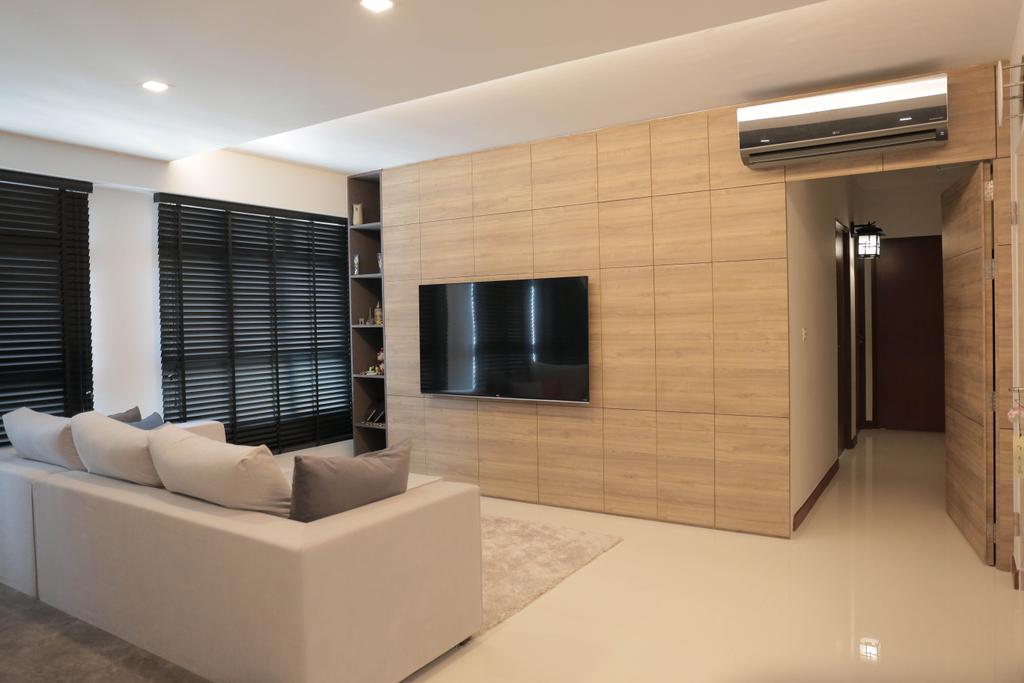 Minimalist, HDB, Living Room, Choa Chu Kang (Block 488C), Interior Designer, Forefront Interior, Couch, Furniture, Indoors, Interior Design, Room