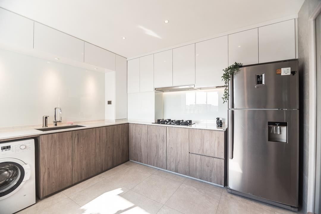 Pasir Ris Street 12, Mr Designer Studio, Minimalistic, Kitchen, HDB, Appliance, Electrical Device, Fridge, Refrigerator