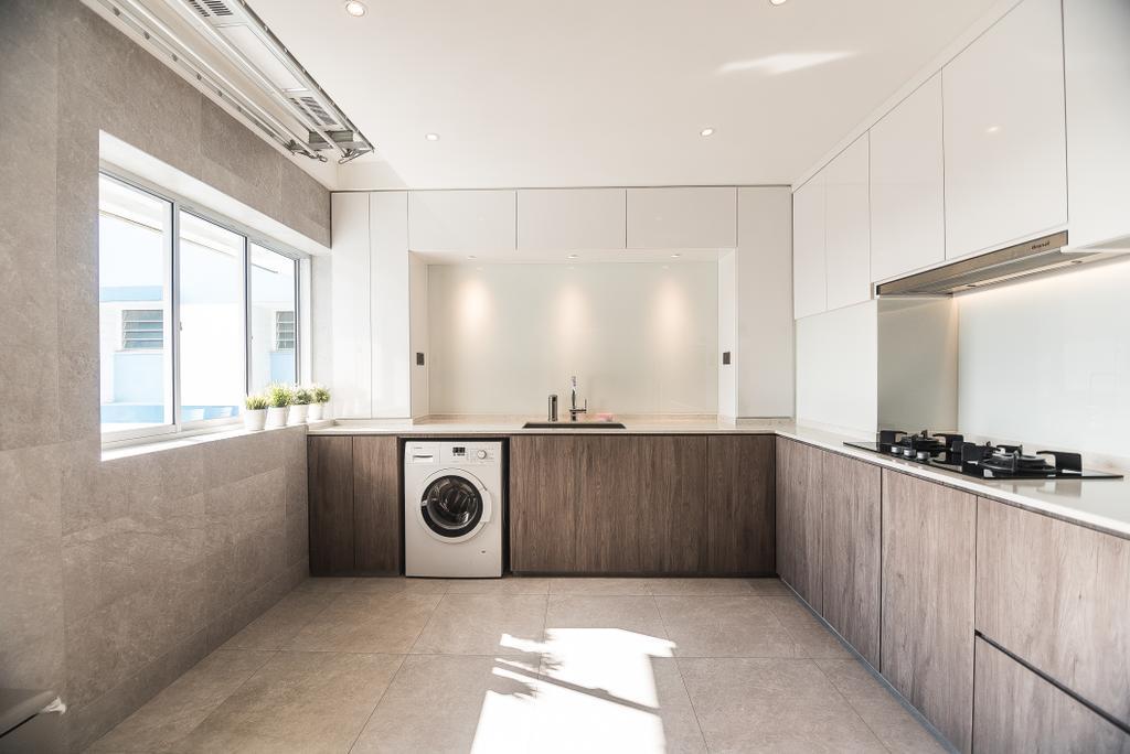 Minimalist, HDB, Kitchen, Pasir Ris Street 12, Interior Designer, Mr Designer Studio, Appliance, Electrical Device, Washer