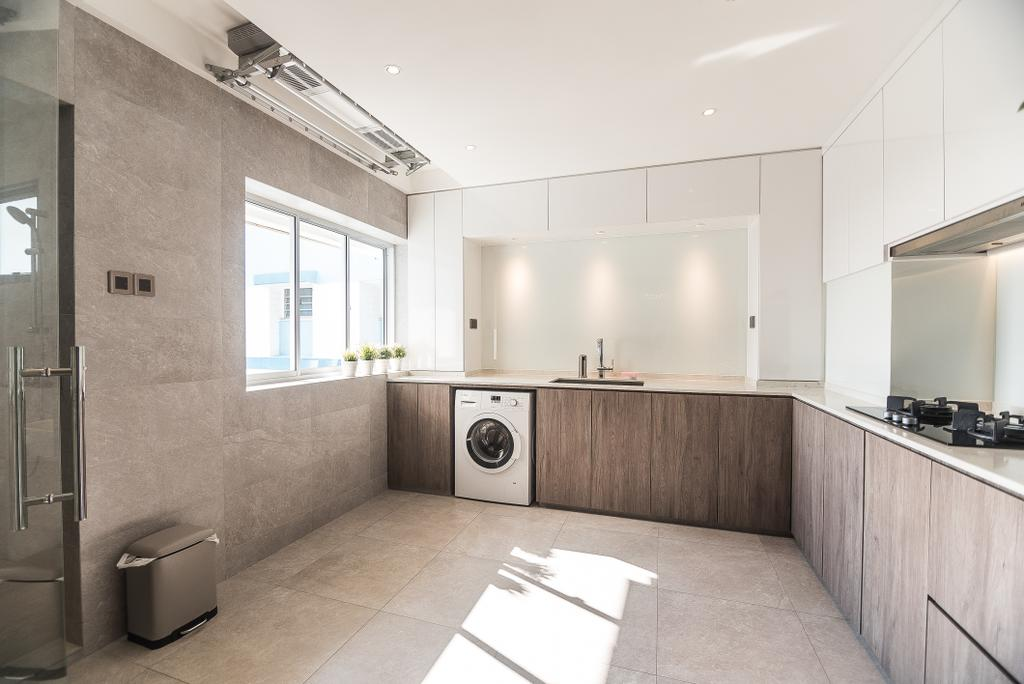 Minimalistic, HDB, Kitchen, Pasir Ris Street 12, Interior Designer, Mr Designer Studio, Projection Screen, Screen, Appliance, Electrical Device, Washer