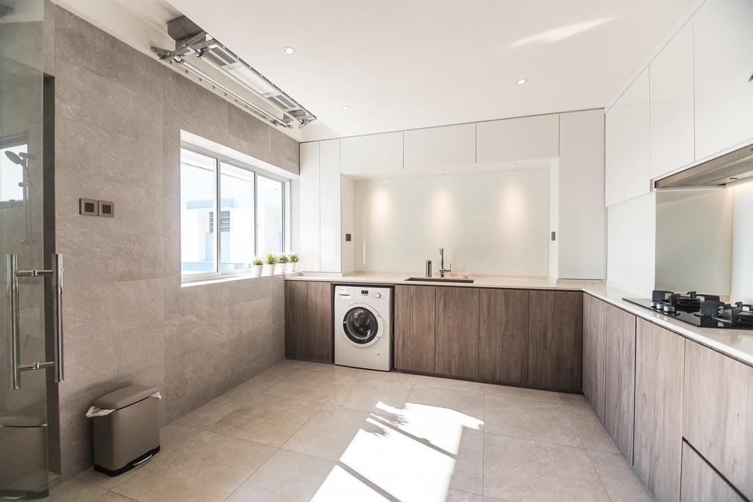 Pasir Ris Street 12, Mr Designer Studio, Minimalistic, Kitchen, HDB, Projection Screen, Screen, Appliance, Electrical Device, Washer