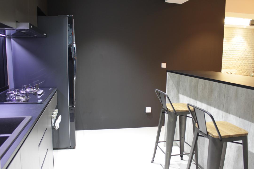 Rivervale Crescent (Block 164B), Forefront Interior, Contemporary, Kitchen, HDB, Studio, Chair, Furniture, Indoors, Interior Design