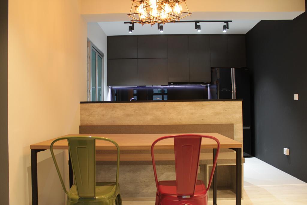 Contemporary, HDB, Dining Room, Rivervale Crescent (Block 164B), Interior Designer, Forefront Interior, Indoors, Interior Design, Room, Chair, Furniture, Door, Sliding Door