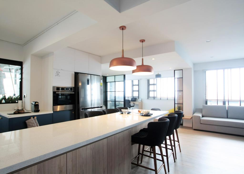 Modern, HDB, Ghim Moh Link, Interior Designer, Intrigue-d Design Consultancy, Dining Table, Furniture, Table, Dining Room, Indoors, Interior Design, Room, Studio Couch