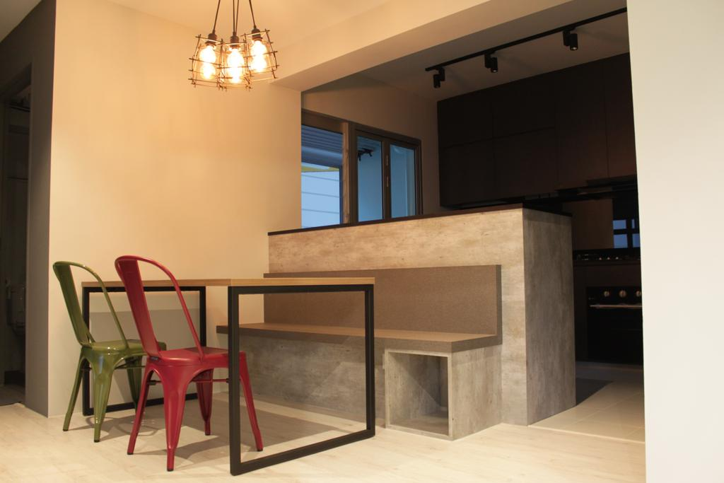 Contemporary, HDB, Dining Room, Rivervale Crescent (Block 164B), Interior Designer, Forefront Interior, Chair, Furniture, Appliance, Electrical Device, Oven, Building, Housing, Indoors, Loft, Dining Table, Table