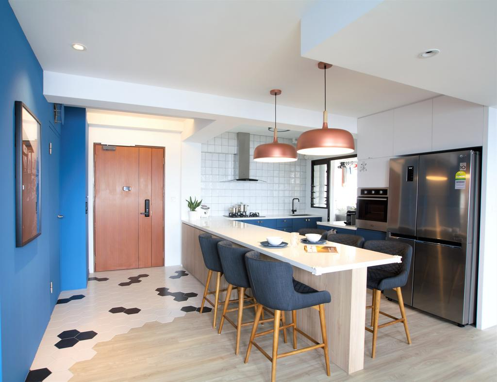 Modern, HDB, Dining Room, Ghim Moh Link, Interior Designer, Intrigue-d Design Consultancy, Indoors, Interior Design, Kitchen, Room, Dining Table, Furniture, Table, Appliance, Electrical Device, Fridge, Refrigerator, Bar Stool