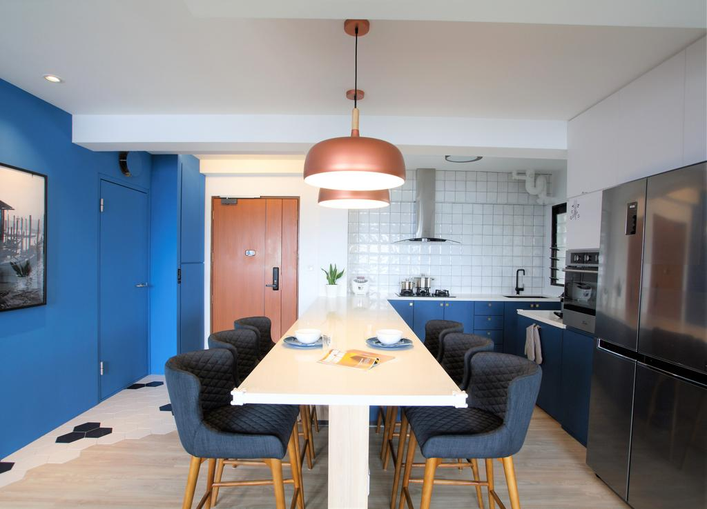 Modern, HDB, Dining Room, Ghim Moh Link, Interior Designer, Intrigue-d Design Consultancy, Chair, Furniture, Indoors, Interior Design, Room, Light Fixture, Dining Table, Table
