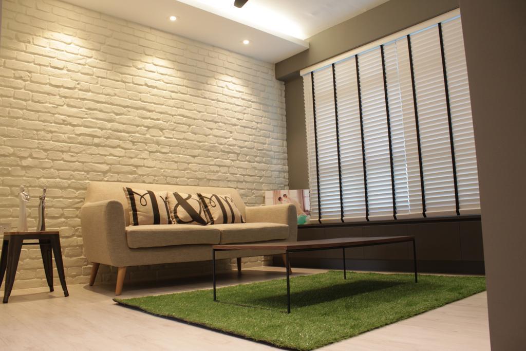 Contemporary, HDB, Living Room, Rivervale Crescent (Block 164B), Interior Designer, Forefront Interior, Indoors, Interior Design, Couch, Furniture