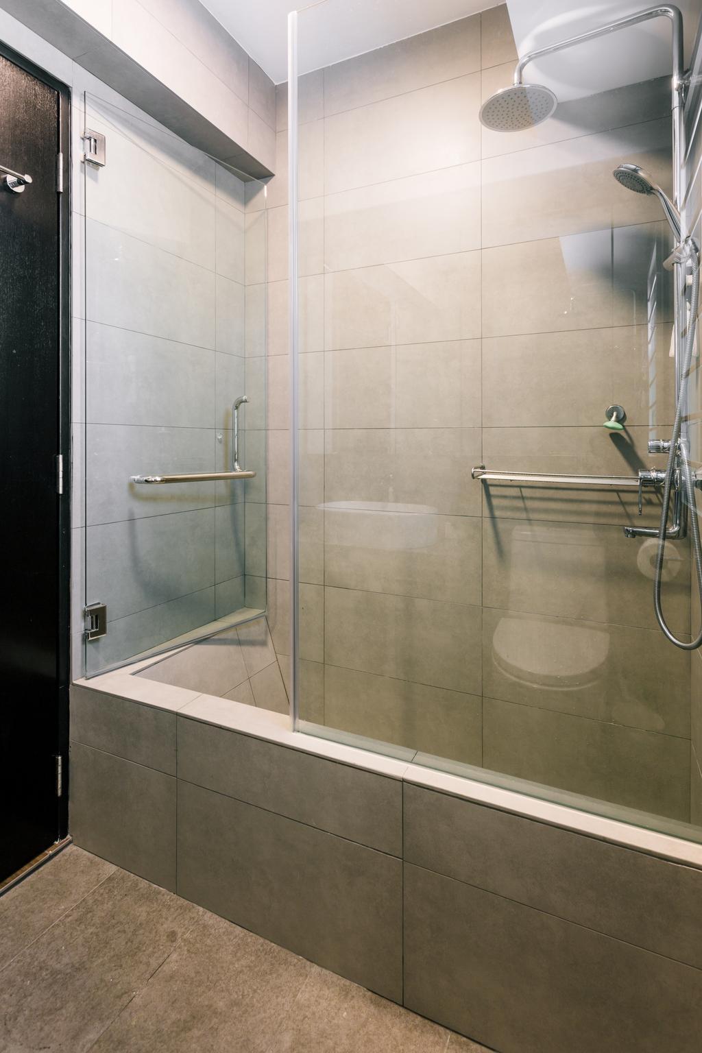 Eclectic, HDB, Bathroom, Park Grove, Interior Designer, Schemacraft, Shower, Banister, Handrail