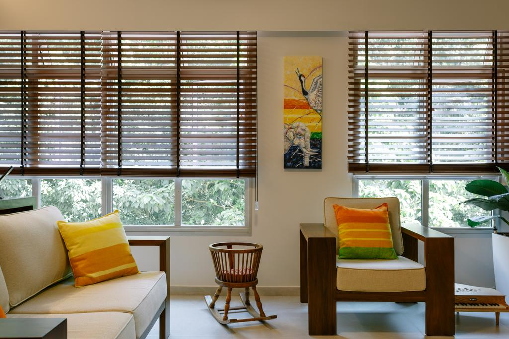 Eclectic, HDB, Living Room, Park Grove, Interior Designer, Schemacraft, Chair, Furniture, Curtain, Home Decor, Window, Window Shade, Art, Modern Art, Dining Room, Indoors, Interior Design, Room
