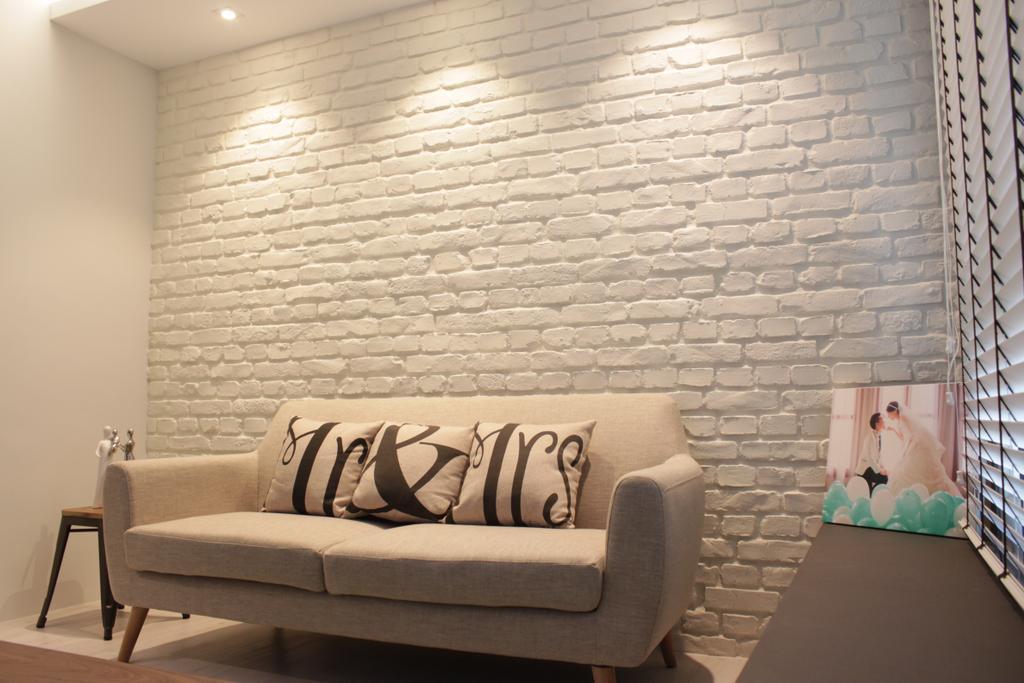 Contemporary, HDB, Living Room, Rivervale Crescent (Block 164B), Interior Designer, Forefront Interior, Couch, Furniture, Indoors, Interior Design, Chair