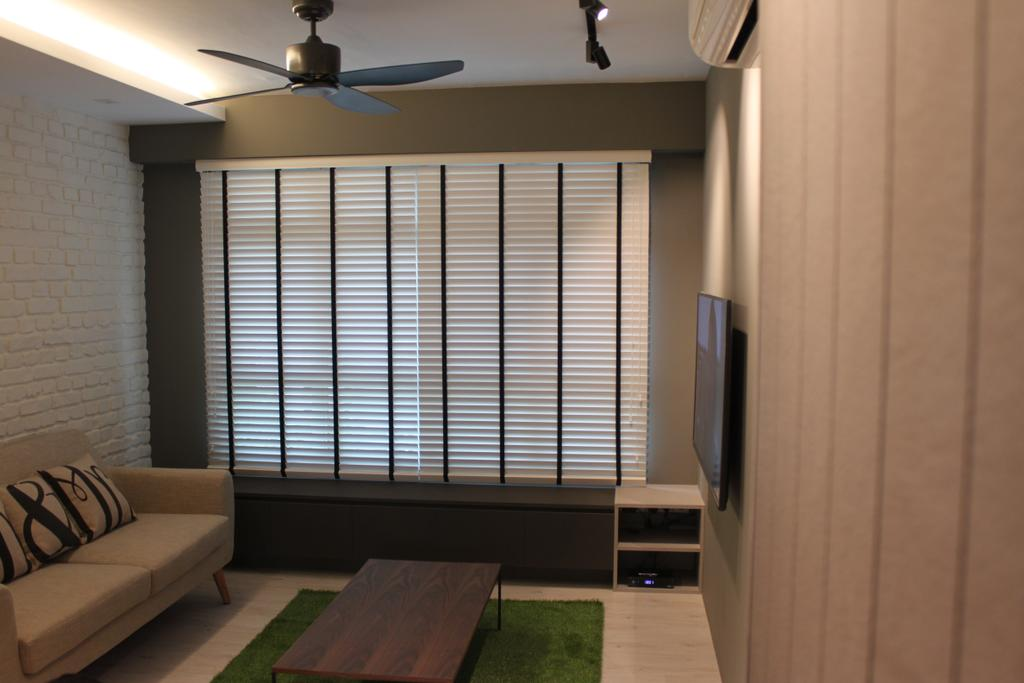 Contemporary, HDB, Living Room, Rivervale Crescent (Block 164B), Interior Designer, Forefront Interior, Couch, Furniture