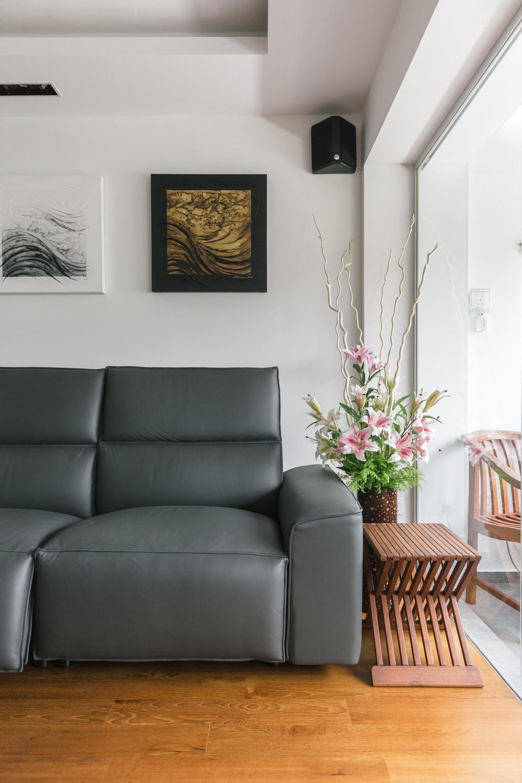 Contemporary, HDB, Living Room, Bishan Summit, Interior Designer, Schemacraft, Flora, Jar, Plant, Potted Plant, Pottery, Vase, Couch, Furniture, Art, Drawing, Sketch, Blossom, Flower, Flower Arrangement, Ornament, Ikebana