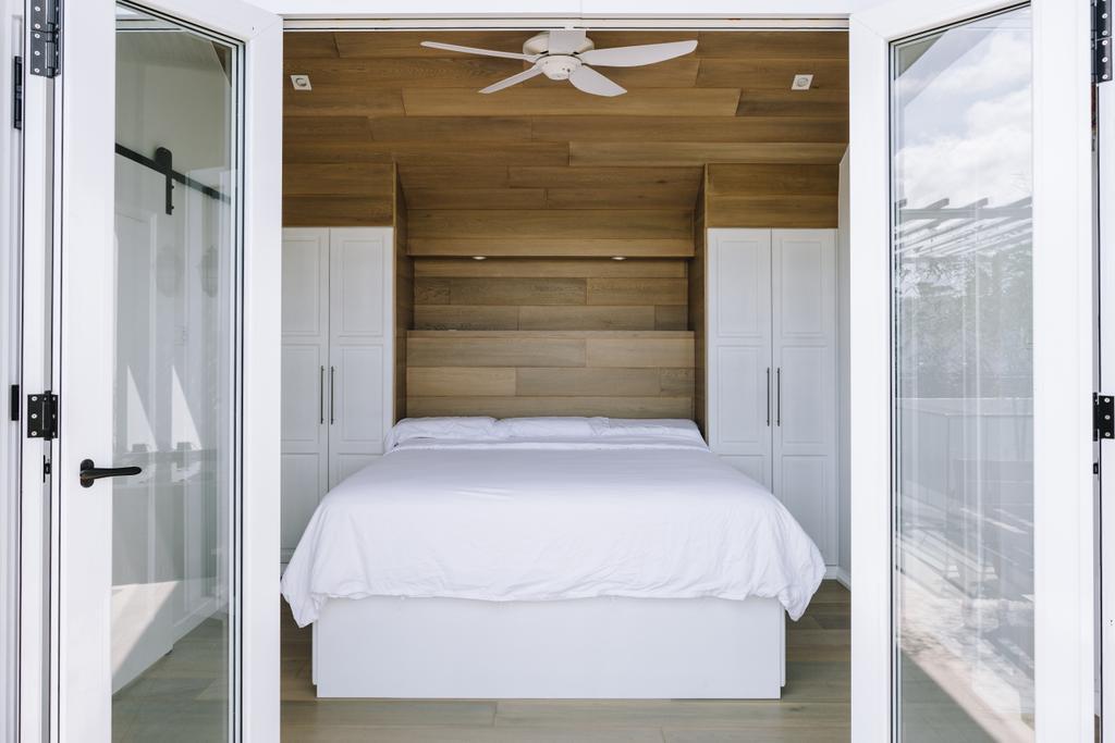 Contemporary, Condo, Bedroom, Bluwaters 2, Interior Designer, Schemacraft, Bed, Furniture, Door, Sliding Door