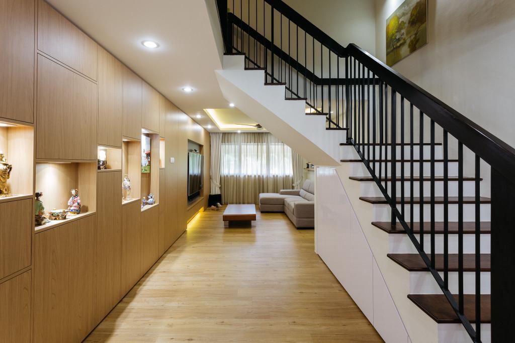 Contemporary, HDB, Living Room, Sin Ming Avenue, Interior Designer, Schemacraft, Maisonette, Staircase, Stairs, Banister, Handrail
