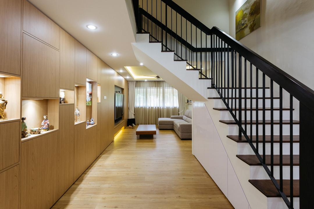 Sin Ming Avenue, Schemacraft, Contemporary, Living Room, HDB, Maisonette, Staircase, Stairs, Banister, Handrail