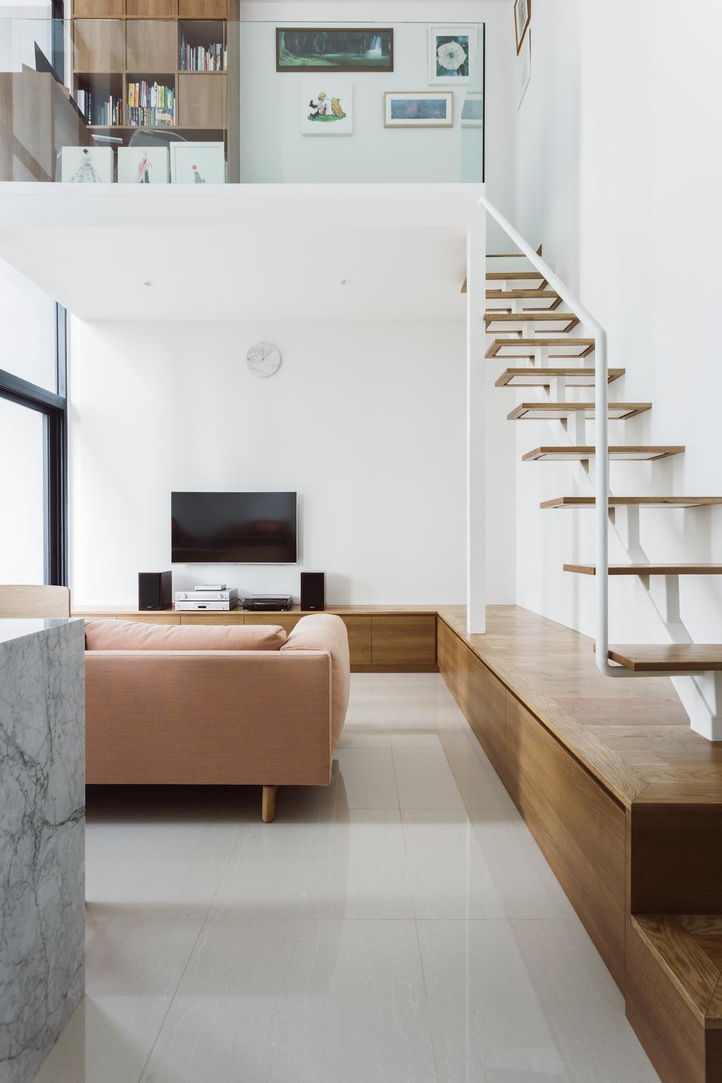 Contemporary, Condo, The Trilinq, Interior Designer, Schemacraft, Couch, Furniture, Indoors, Interior Design, Shelf, Electronics, Entertainment Center, Home Theater