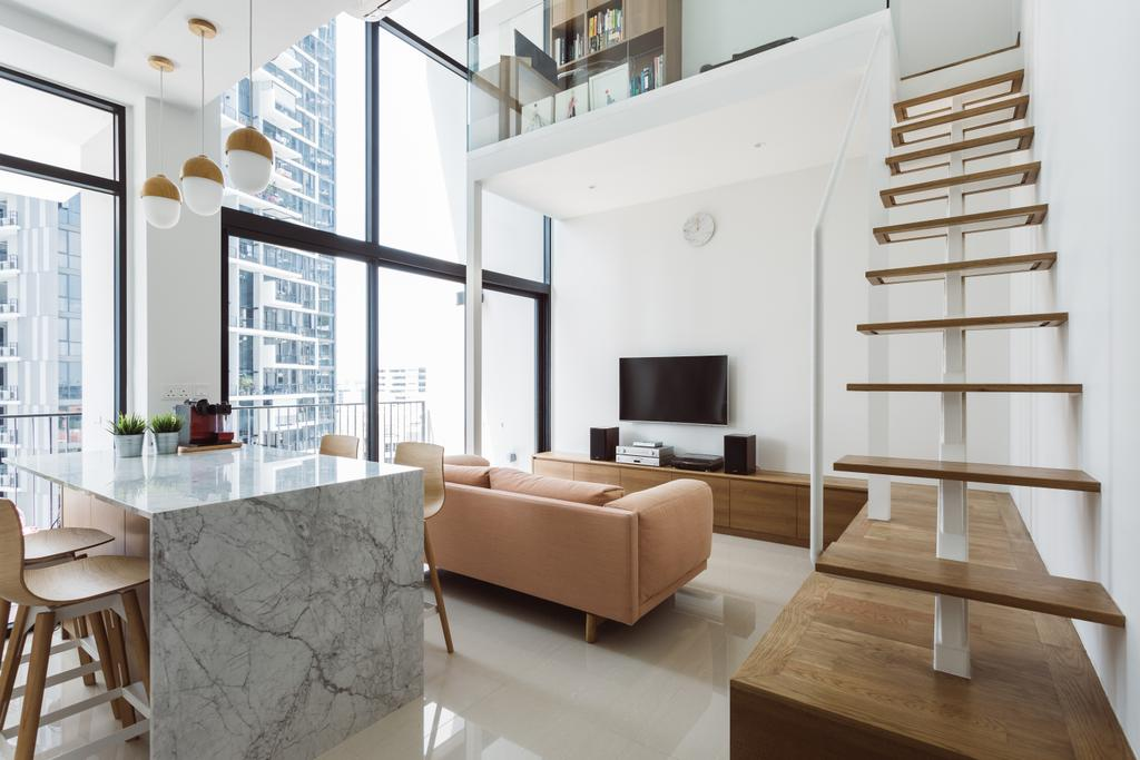 Contemporary, Condo, Dining Room, The Trilinq, Interior Designer, Schemacraft, Loft, HDB, Building, Housing, Indoors, Banister, Handrail, Staircase, Chair, Furniture, Interior Design, Dining Table, Table