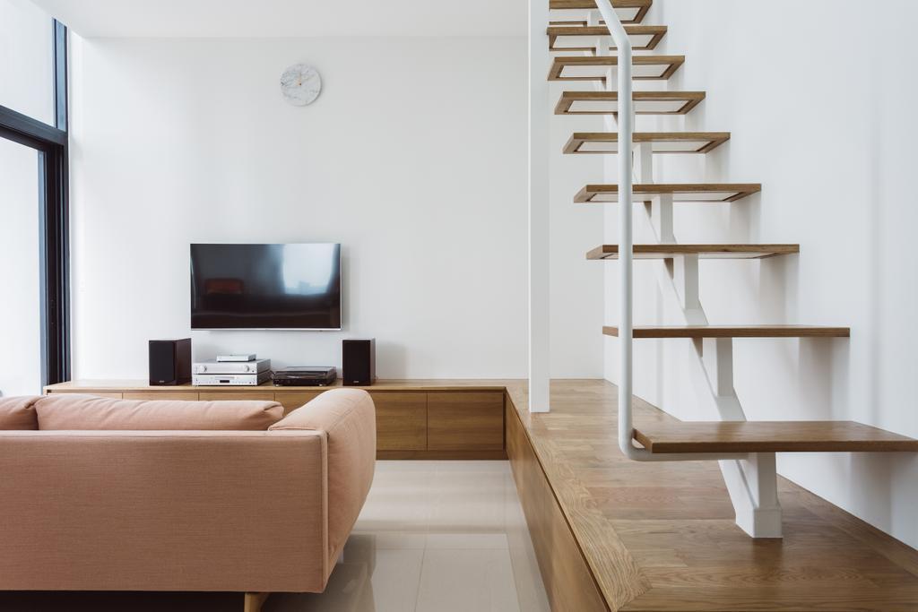 Contemporary, Condo, Living Room, The Trilinq, Interior Designer, Schemacraft, Shelf, Indoors, Interior Design, Couch, Furniture, Ottoman, Banister, Handrail, Staircase