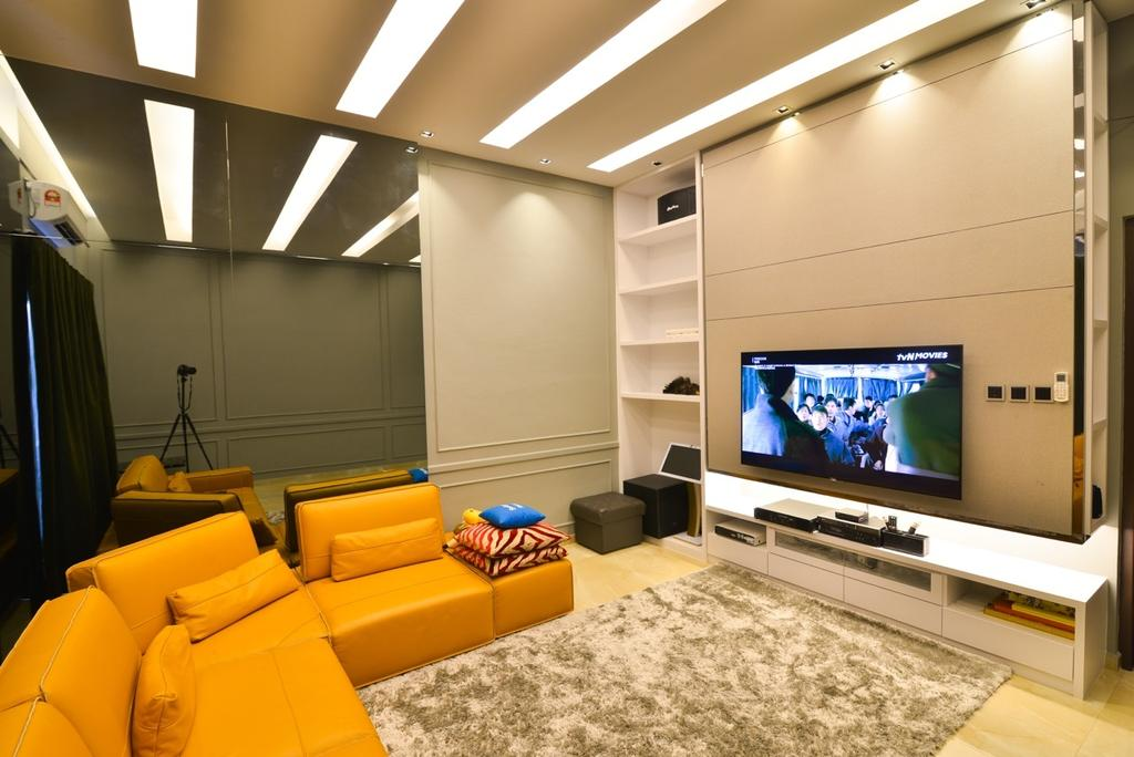 Transitional, Landed, Living Room, Pekan, Interior Designer, Klaasmen Sdn. Bhd., Couch, Furniture, Chair, Indoors, Room, Electronics, Entertainment Center, Lighting