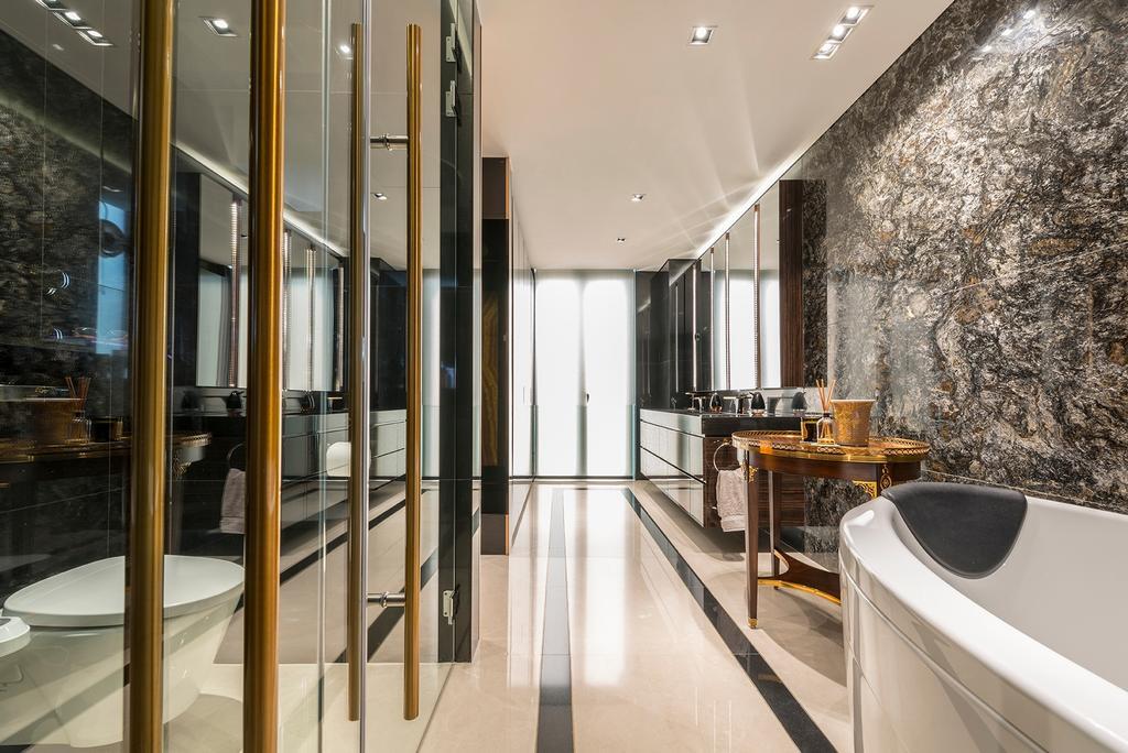 Landed, Bathroom, Dunsfold Drive, Interior Designer, erstudio, Bath Tub, Bathtub, Sink, Indoors, Interior Design