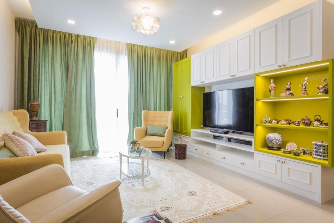 Kiaramas Ayuria, Mont Kiara, A Moxie Associates Sdn Bhd, Eclectic, Living Room, Condo, Couch, Furniture, Shelf, Indoors, Interior Design, Chair, Room